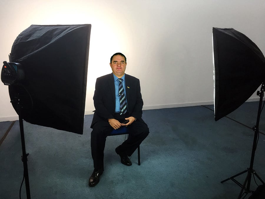 Two point lighting with softboxes in a diy video studio