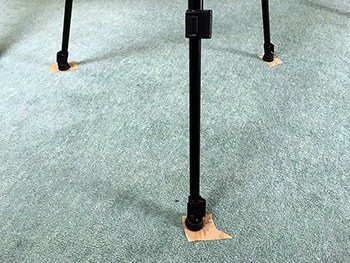 How to mark the layout of your equipment. Some sticky tape is stuck to the floor underneath tripod legs etc.