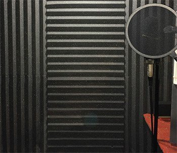 Voice booth lined with acoustic foam