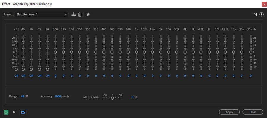 Adobe Audition low cut graphic equalizer filter helps cut some wind noise