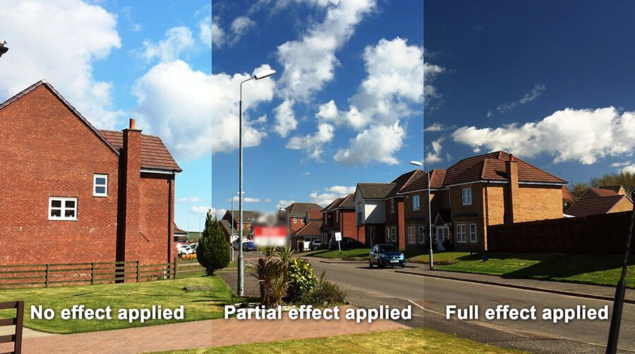 Remove glare from video clips with a polarizing filter but also darken and saturate the sky