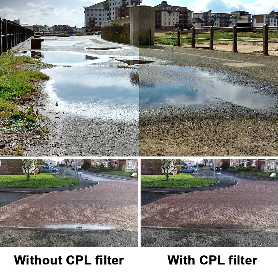 Remove glare from video clips. In so doing damp road can be made to look dry