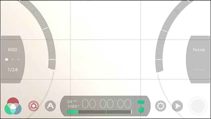 Filmic Pro video app interface showing the control arc sliders that can be quickly accessed using the circle and arc icon in the bottom left hand corner of the display