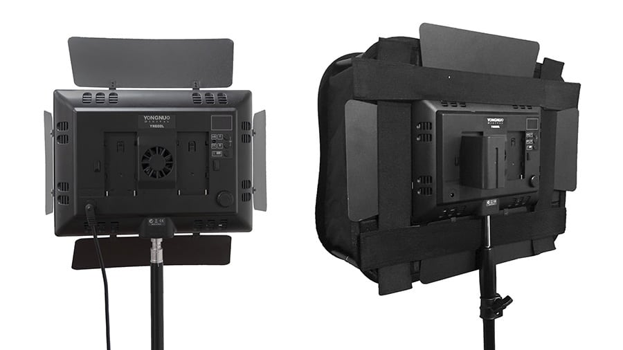 Rear view of a Yongnuo YN600L LED light with and with an Ulanzi foldable softbox. This shows how the softbox diffuser is attached to the light using velcro straps.