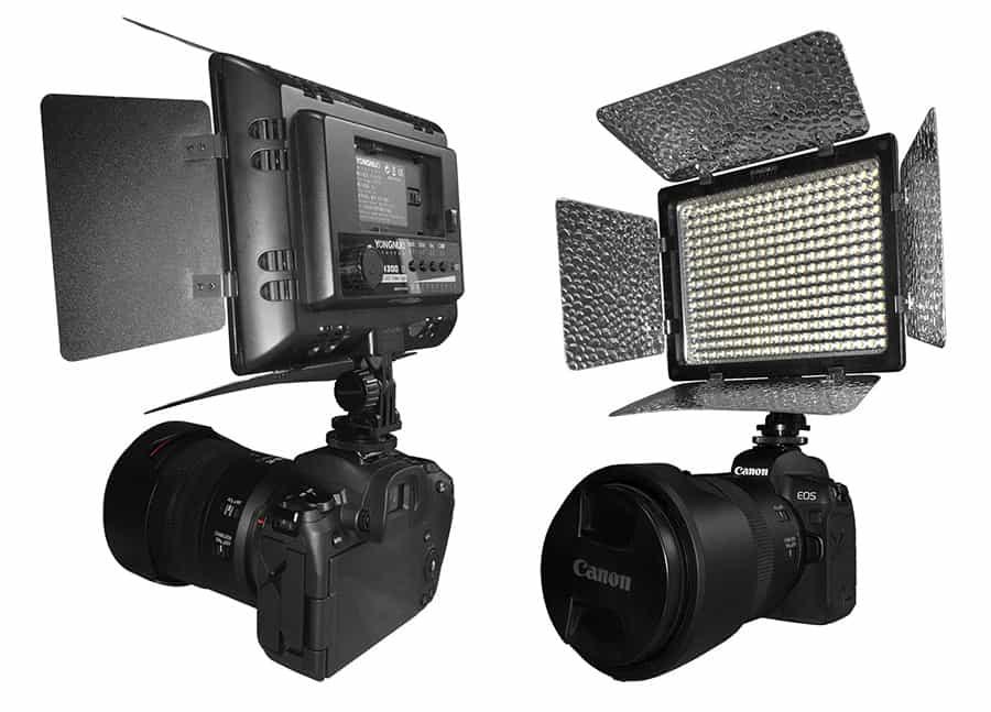Yongyuo YN300 ii LED light mounted on a Canon EOS R mirrorless camera