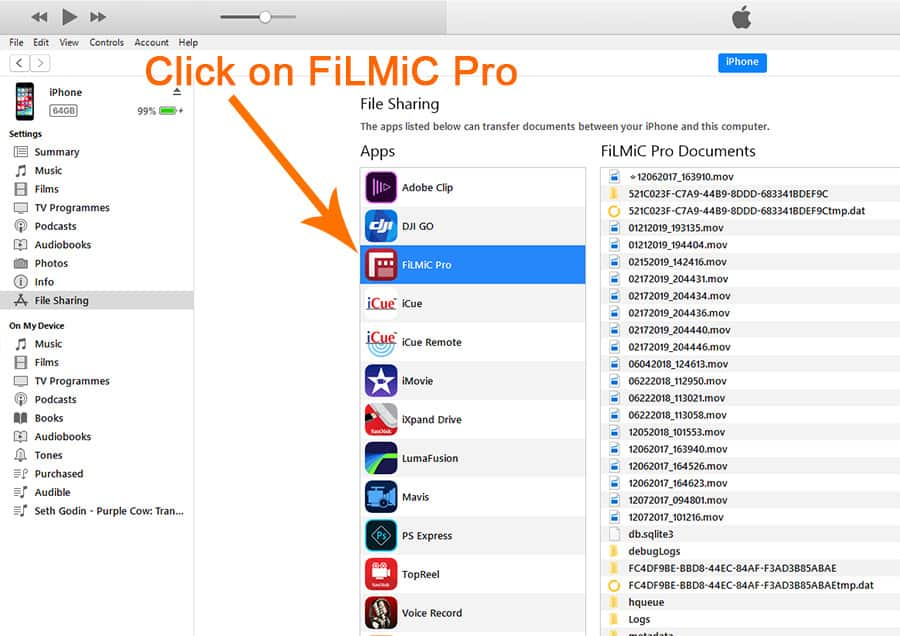 FiLMiC Pro How To Transfer Video From iPhone To PC - Transfer video from Filmic pro