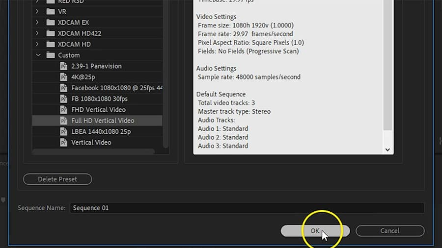 The new preset will appear in the Custom presets folder. Make sure it is selected and click OK.