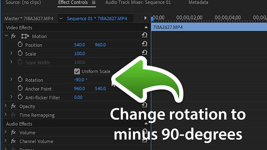 Change the clips rotation to -90 degrees.