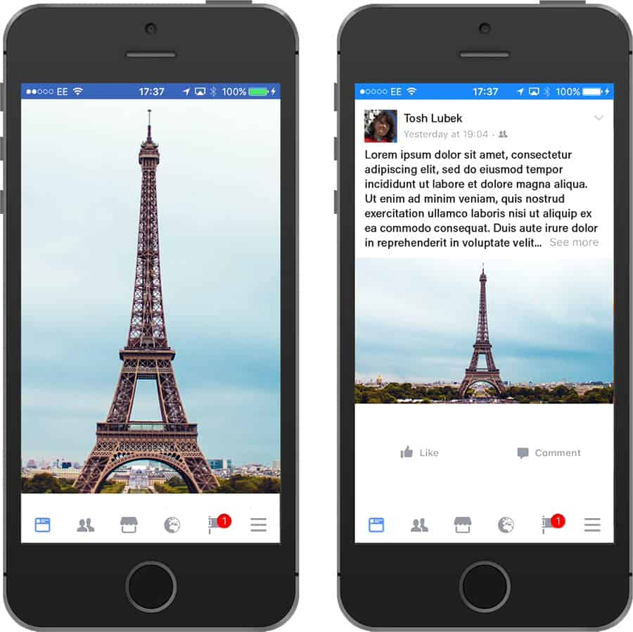 An example of how vertical video on mobiles works well with subjects that are naturally vertical