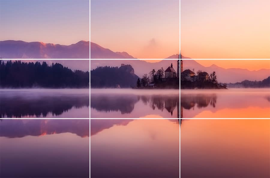 A still of the church at the heart of Lake Bled in Slovenia. The shot has been composed using the Rule of Thirds, with significant elements falling on third lines or their intersections.