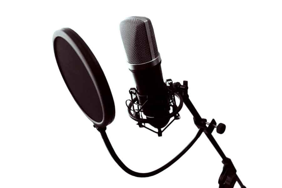 Nylon mesh pop filter attached to mic stand so that it is just in front of the sensitive side of a condenser microphone