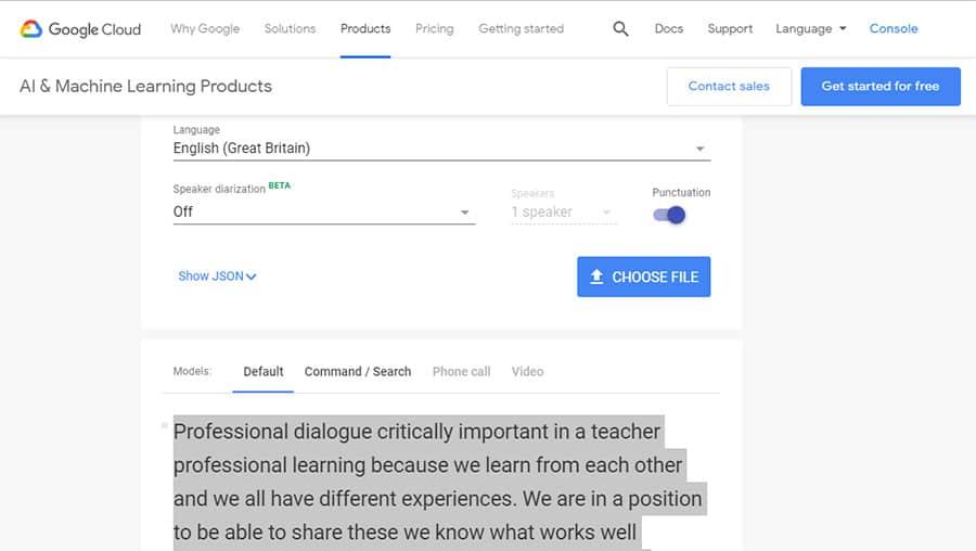 Google Cloud Speech to Text screenshot