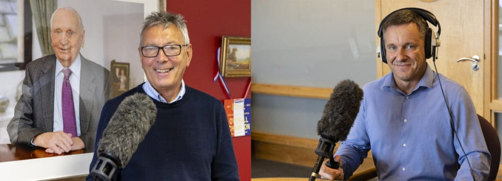 Recording radio advertorials. Left: Gordon Allan. Right: Richard Allison