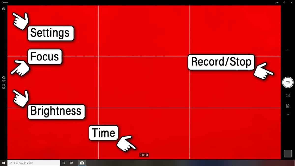 Windows 10 Camera App main control access buttons