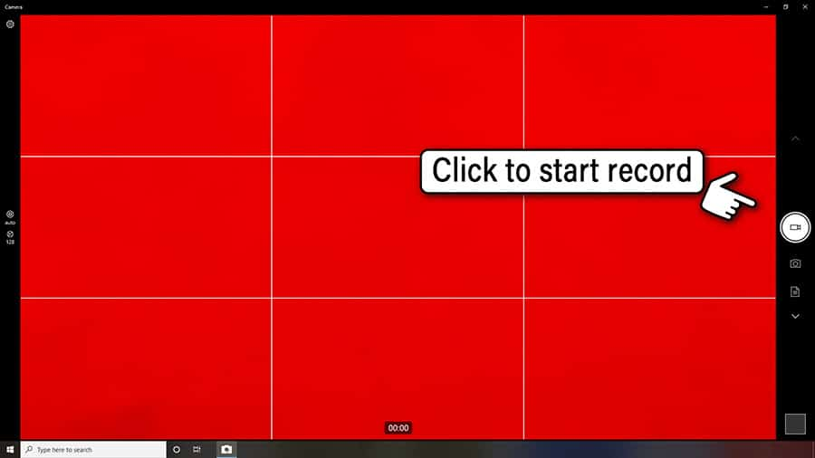Click the video camera record button on the Windows 10 Camera app to start recording your video clip
