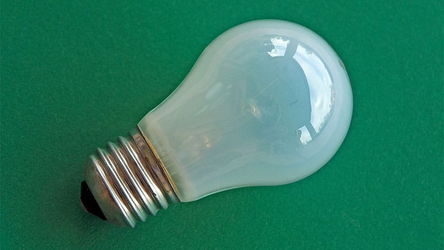 An example of a typical Edison screw tungsten light bulb