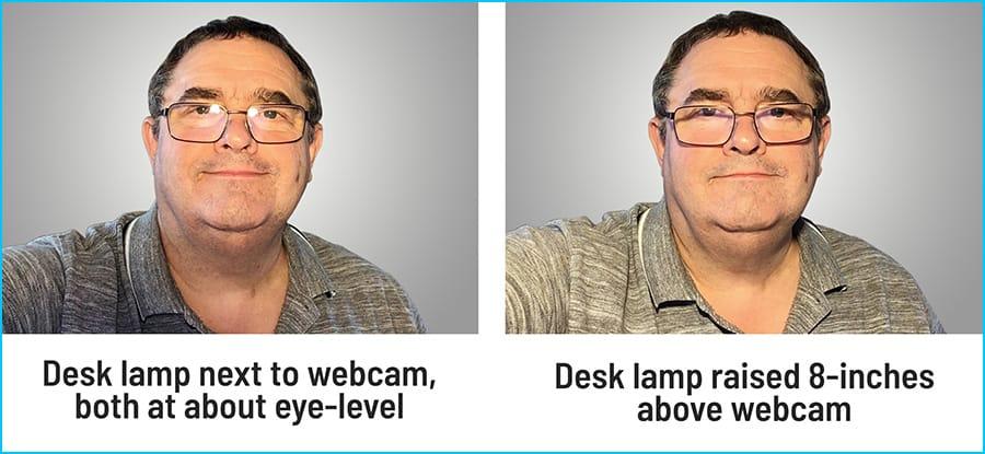 Raising height of bulb to reduce glare on glasses