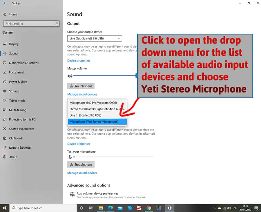 Sound settings window 1