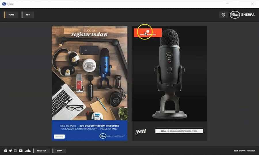 Blue Yeti Update Screen