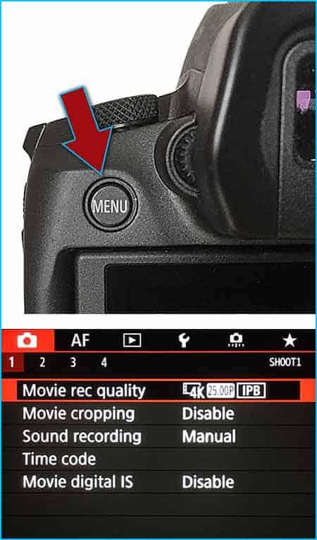 Menu button on Canon EOS R