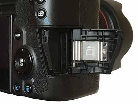 Canon EOS R SD card slot cover open