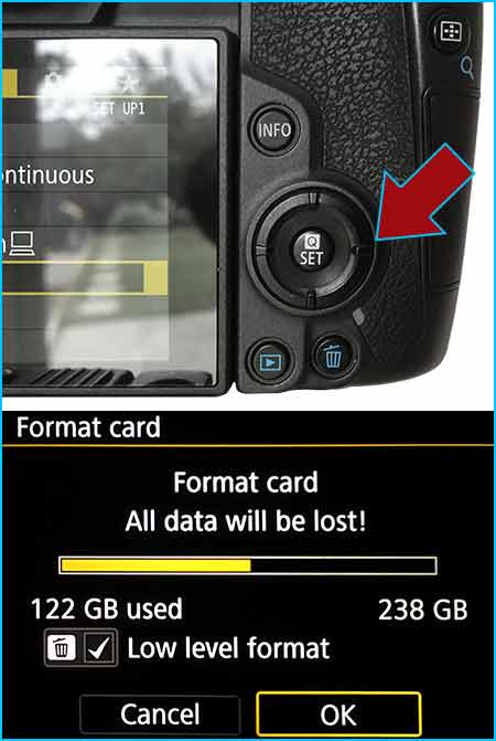 Press SET button on Canon EOS R to format the SD card