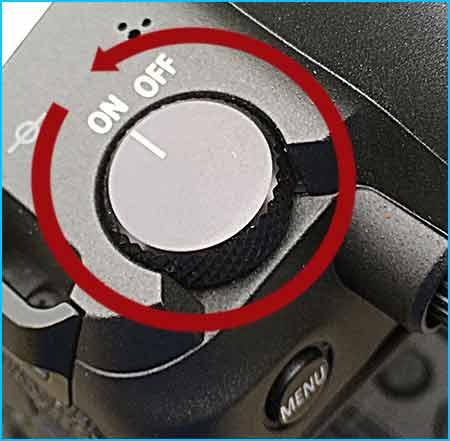 Turn on Canon EOS R camera