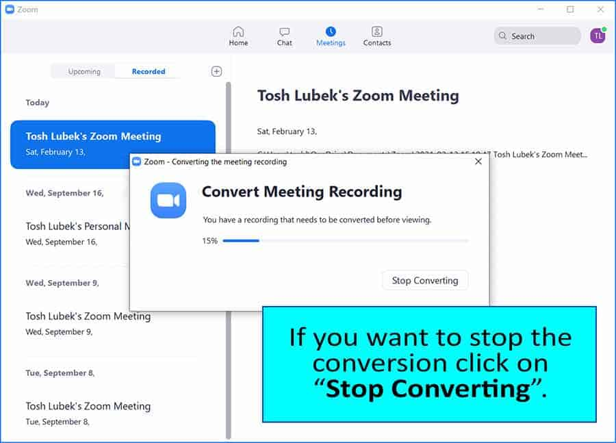 How to convert a Zoom recording - Step 5
