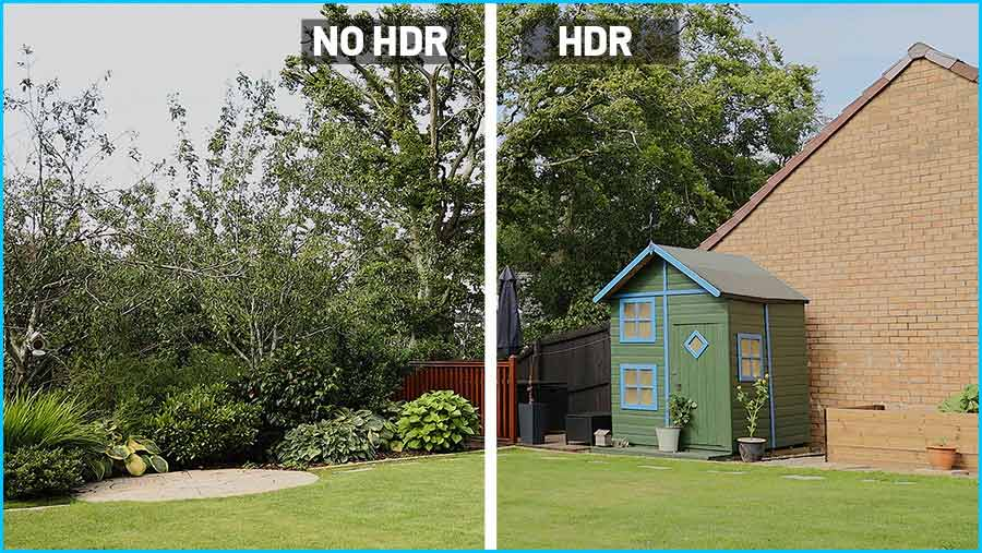 Comparing a scene with and without HDR