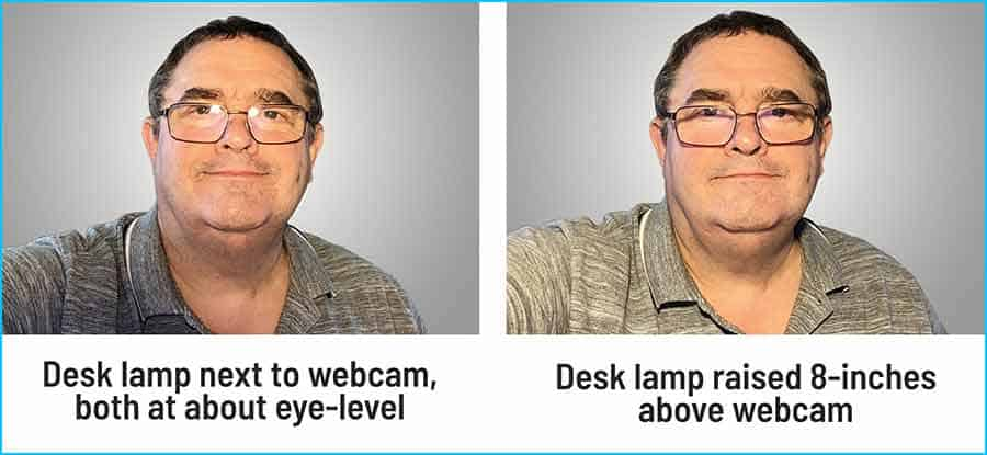 Raising height of bulb to reduce glare on glasses