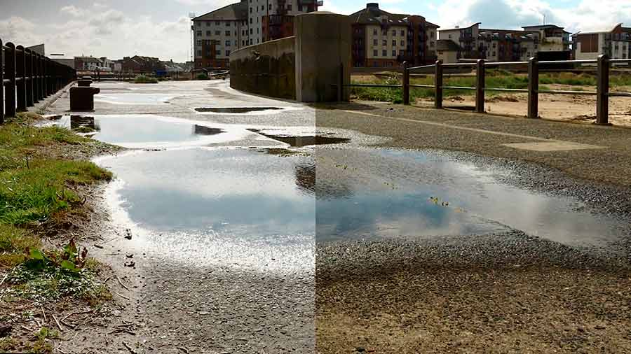 Remove sun glare from video shots of wet road surfaces with a CPL filter