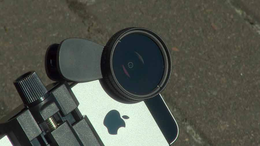 Remove glare from video clips. Fitting a CPL filter to an iPhone