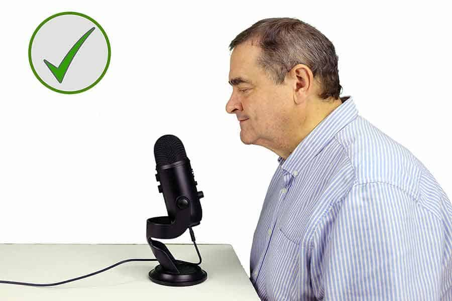 The Blue Yeti is a side address microphone. Speak into the side with the Blue logo