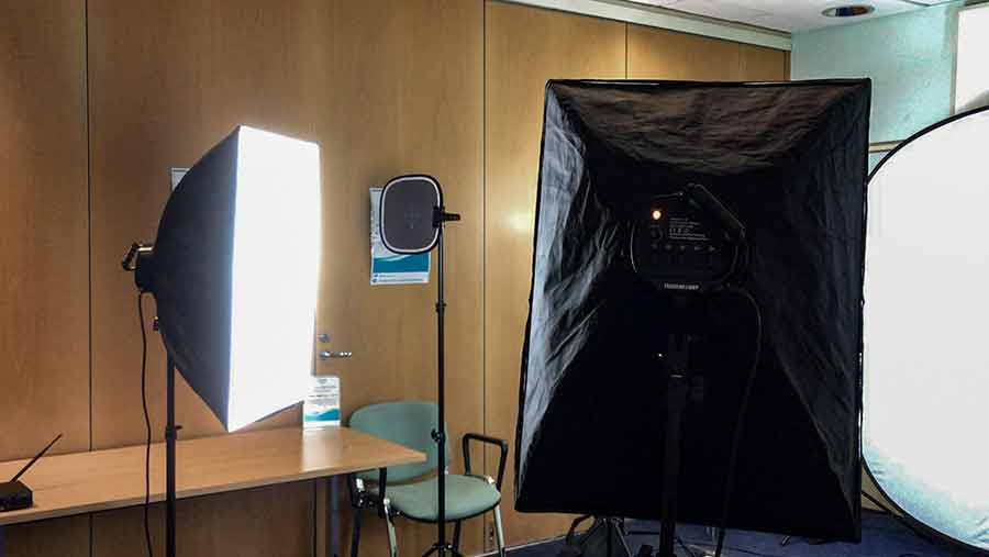 Softboxes used at a video shoot