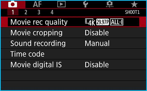 Edit Step 3 - Go to the Movie Record Quality Settings