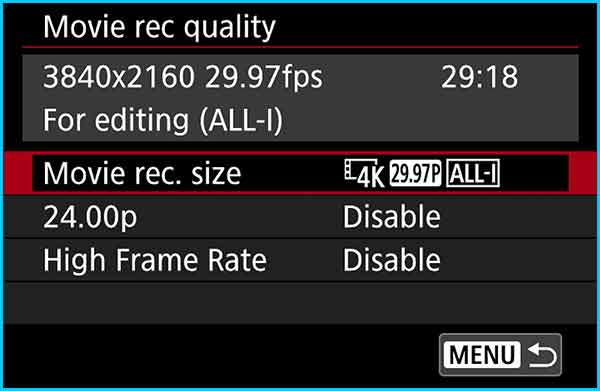Edit Step 4 - Choose Movie Rec Size