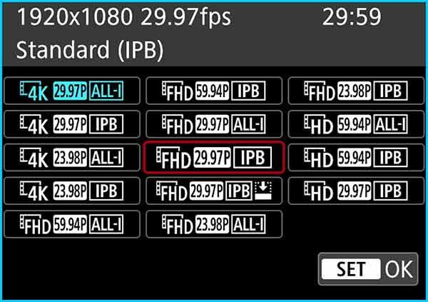 Step 5 - Choose FHD 29.97p IPB