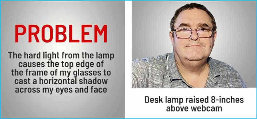 The hard light of the desk lamp causes the frame of the glasses to cast a shadow across my face