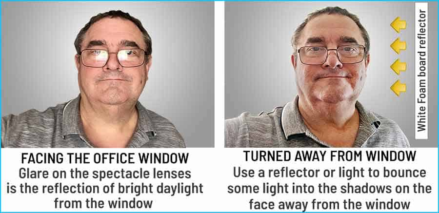 How to get rid of glare on eyeglasses due to the reflection of window light