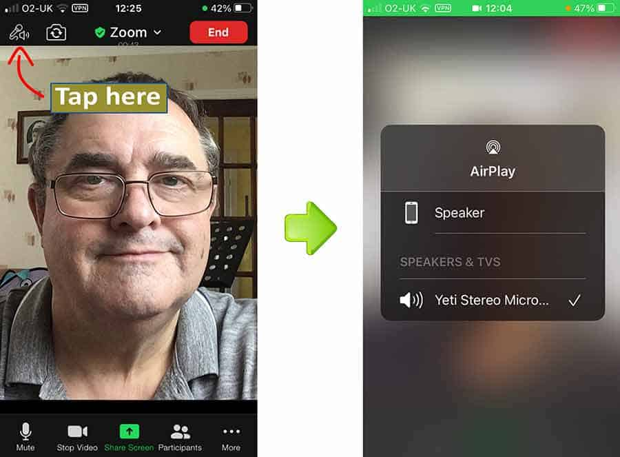 How to check Blue Yeti is working with Zoom mobile app