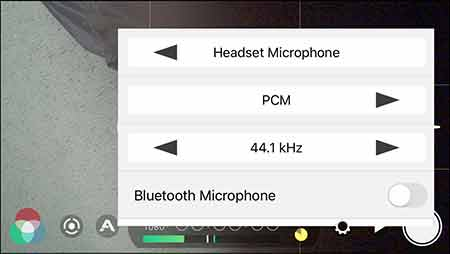 Audio setting page in FiLMiC Pro showing external mic has been selected