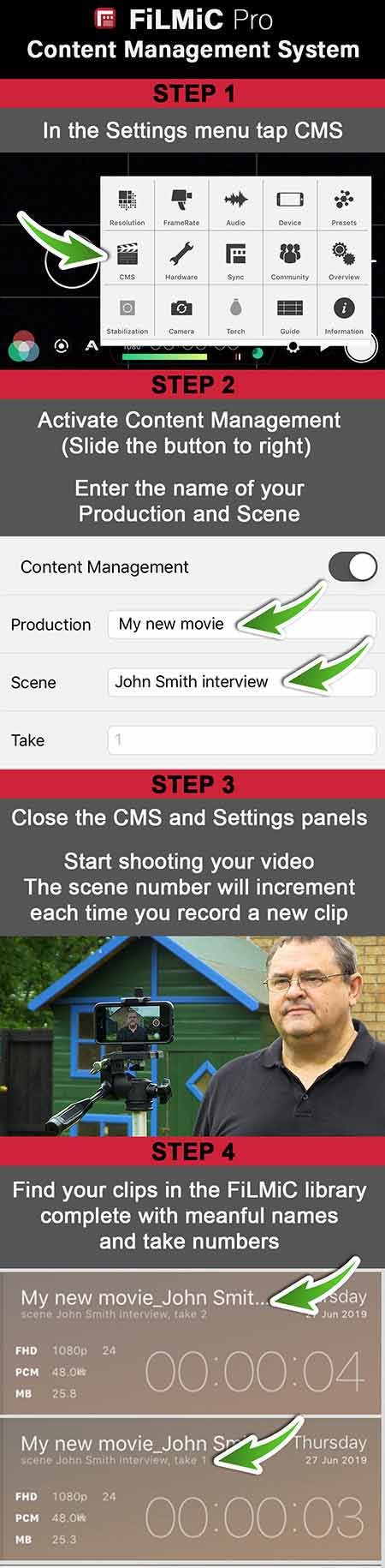 An infographic showing how to use Filmic Pro's Content Management System or CMS