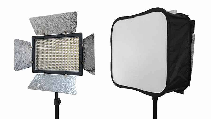 An image of a Yongnuo YN600L LED light panel with and without a Ulanzi SB600 foldable Softbox
