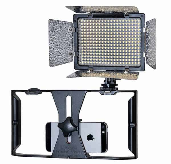 On-camera LED light mounted on an iPhone camera right.