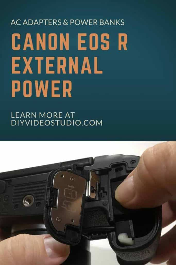 Canon EOS R External Power with AC adapters and Power banks - Pinterest image