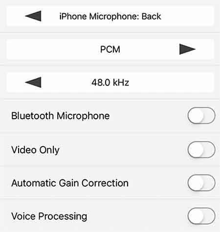 This filmic pro presets screen allows us to select which microphone to use and other audio related matters.