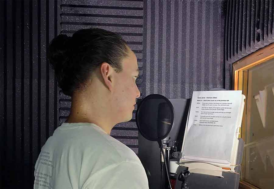 Voiceover in sound booth