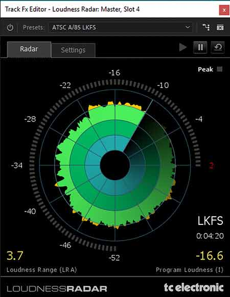 LoudnessRadar as available in Adobe Audition and Premiere Pro CC