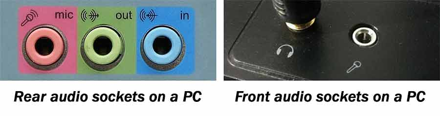 The audio input sockets on a PC