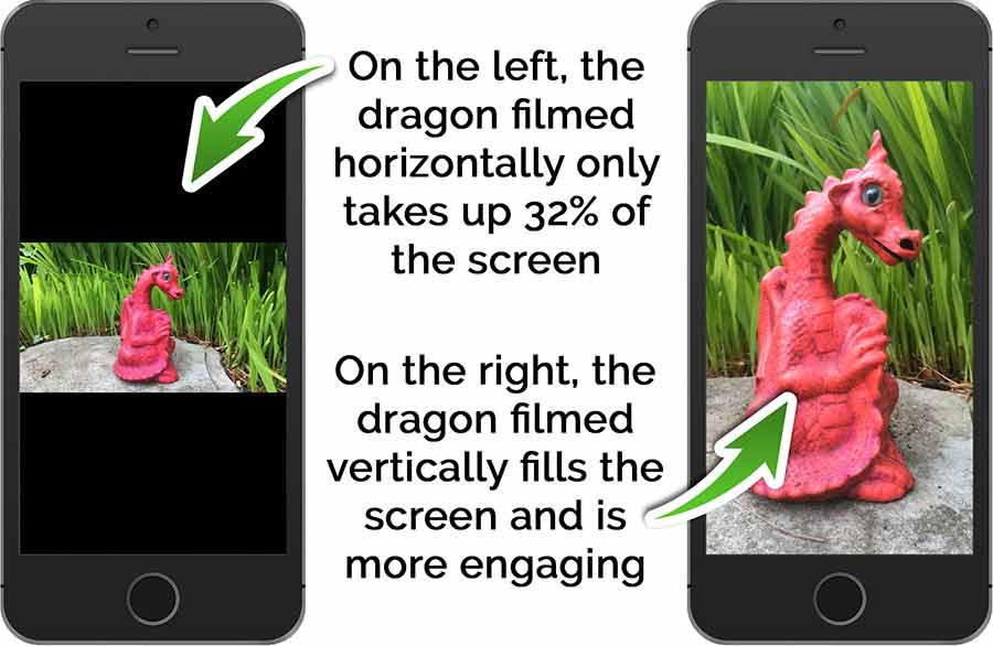A subject that is naturally taller than wide, such as this model dragon, suits the vertical video format. We have filmed the dragon both horizontally and vertically and see much more detail with the vertical video because the dragon fills more of the smartphone screen.